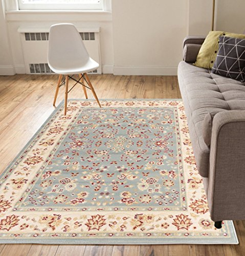 Damghan floral blue 8 10 8 39 2 x 9 39 10 traditional for Living room rugs 8 x 10