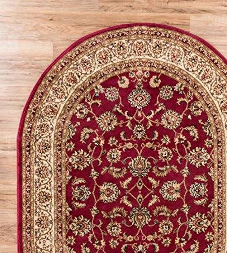 antique classic red x oval area rug oriental floral motif detailed classic pattern persian living dining room bedroom hallway office carpet easy