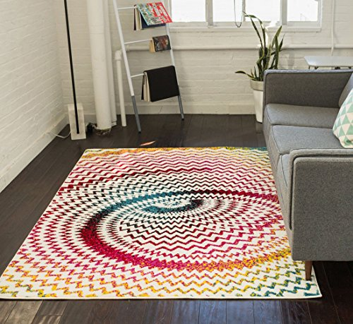 Modern Abstract 3D Area Rug 710 X 910 Easy Clean Stain Fade Resistant Shed Free Contemporary Geometric Thick Soft Plush Living Dining Room