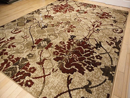 Modern Burgundy Rug For Living Room 5 215 7 Red Cream Beige