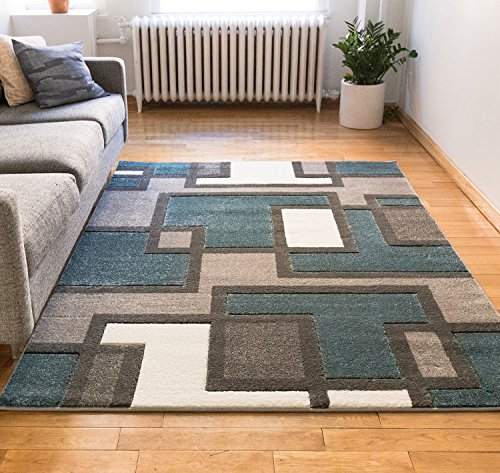 Casual Hand Carved Area Rug 8x10 8x11 710 X 910 Easy To Clean Stain Resistant Abstract Boxes Contemporary Thick Soft Plush Living Dining Room