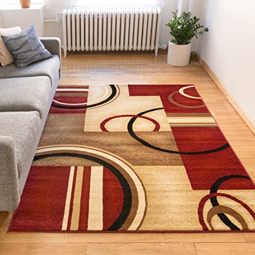 Deco Rings Red Geometric Modern Casual Area Rug 8x10 8x11 710 X 910 Easy To Clean Stain Fade Resistant Shed Free Abstract Contemporary Color Block