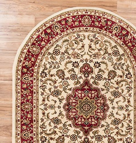 Persian Classic Ivory 53 X 610 OVAL Area Rug Oriental Floral Motif Detailed Pattern Antique Living Dining Room Bedroom Hallway Home Office