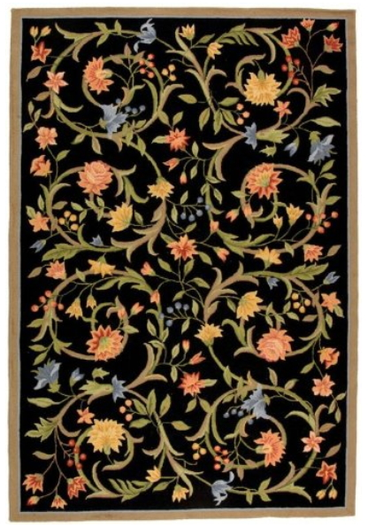 "Safavieh Chelsea Collection HK248B Hand-Hooked Black Premium Wool Runner (2'6"" x 8')"
