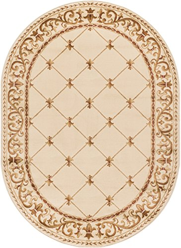 Orleans Traditional Border Ivory Oval Area Rug 7 X 10