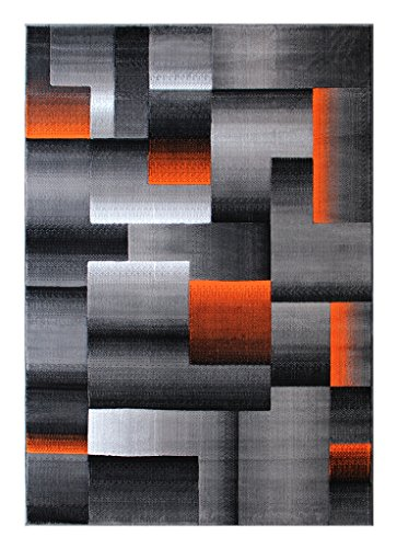 Masada Rugs Modern Contemporary Area Rug Orange Grey