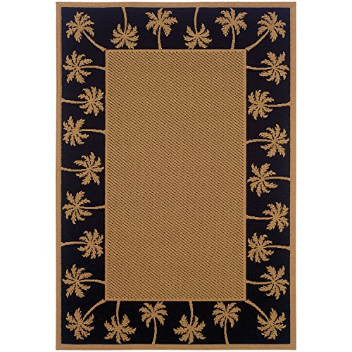 Indoor Outdoor Rug Washable Beige Tropical Fauna Patio