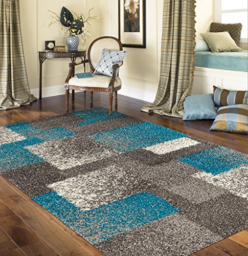 Rugshop Cozy Contemporary Geometric Boxes Shag Area Rug 3