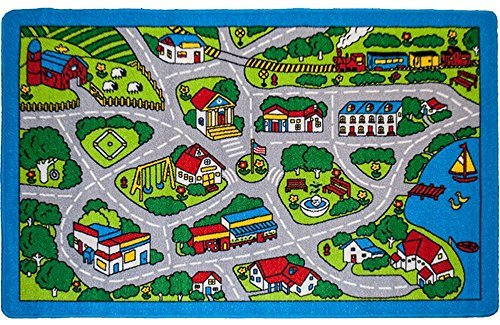 Kids Rug Street Map In Grey 5 X 7 Children Area Rug