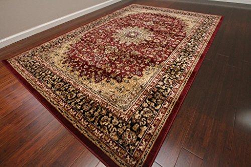 Feraghan Burgundy Red Traditional Isfahan Wool Persian
