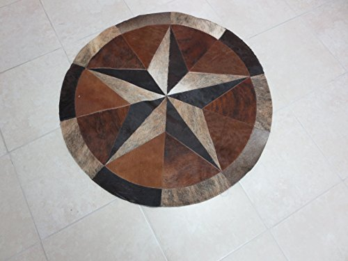 Rug Leather Star Cow Hide Patchwork Area Round Carpet 40