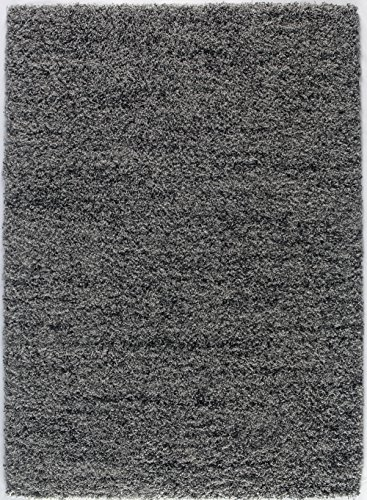 Grey And Charcoal Contemporary 8 By 10 Plush Shaggy Area