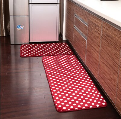 Ustide 2 Piece Red Polka Dots Kitchen Rug Set Kitchen Memory Foam Rug Soft Rug Coral Fleece Door