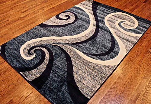 new summit 32swirl blue navy white light gray area rug abstract carpet sizes available 2 3 2 7. Black Bedroom Furniture Sets. Home Design Ideas