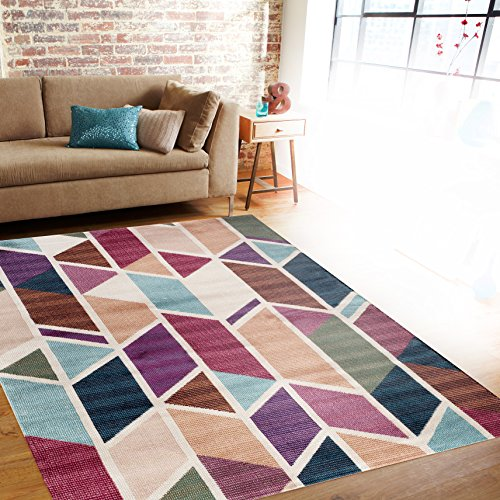 Modern Geometric Design Multi Color Soft Indoor Area Rug 7