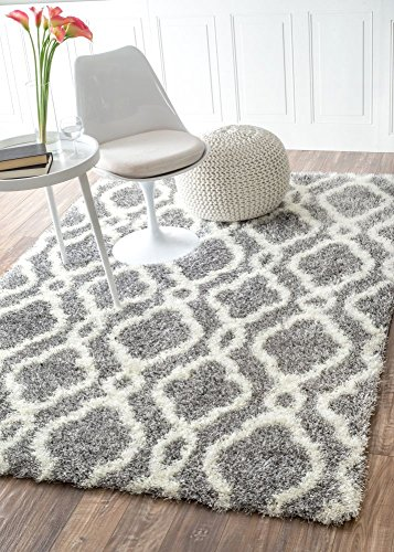 Moroccan Trellis Soft And Plush Grey Shag Rug, 4 Feet By 6