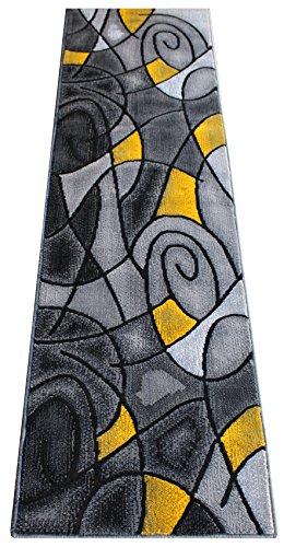 Masada Rugs Modern Contemporary Runner Area Rug Yellow Grey Black