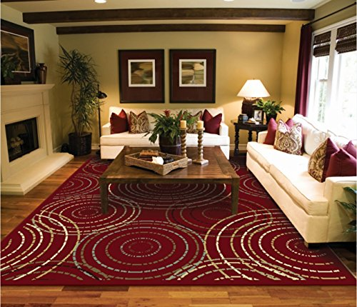 Large Red Modern Rug For Living Room Reds 8 11 Rugs Circles Contemporary Area 10 Clearance Under 100