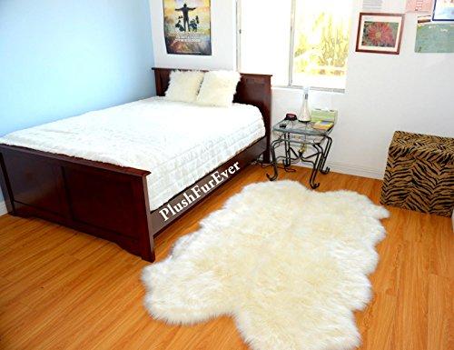 Quad Sheepskin Warm White Plush Sheep Pelts Baby Area Rug