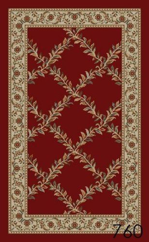 New Trellis Red Floral Design Rubber Backed Non Slip Area