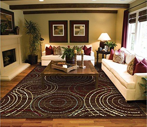 Contemporary Circle Rugs 5 8 Brown Blue Cream Red Beige Circels Modern Area 7 Dining Room Bed Rug Sets