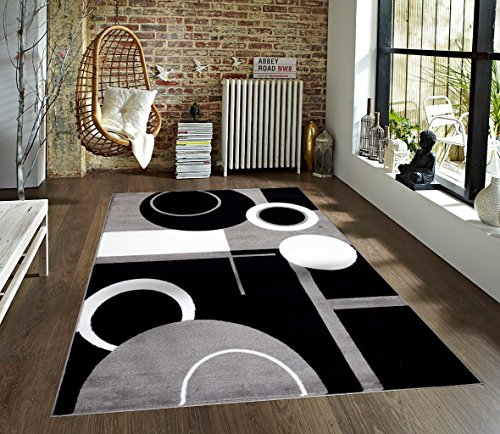 T1010 Gray Black White 5 2 X 7 2 Floral Oriental Area Rug