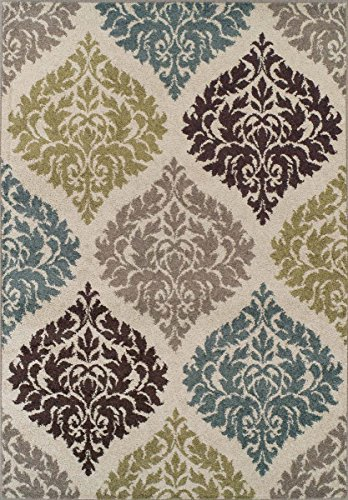 Super Area Rugs Modern Transitional Damask Lanterns Rug