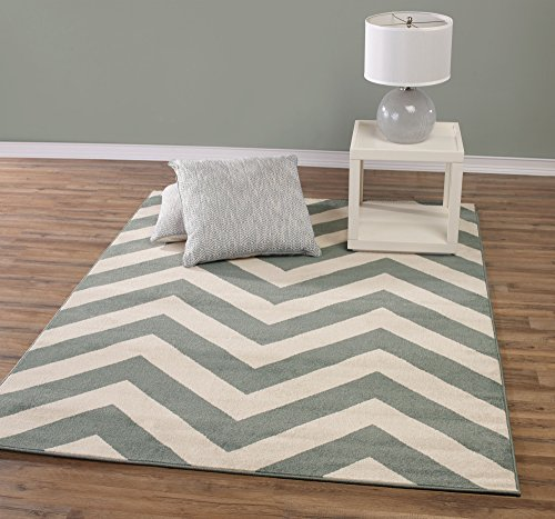 Teal And Beige Contemporary Chevron Design 8 By 10 Modern
