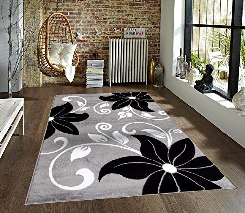 T1014 Gray Black White 5 2 X 7 2 Floral Oriental Area Rug