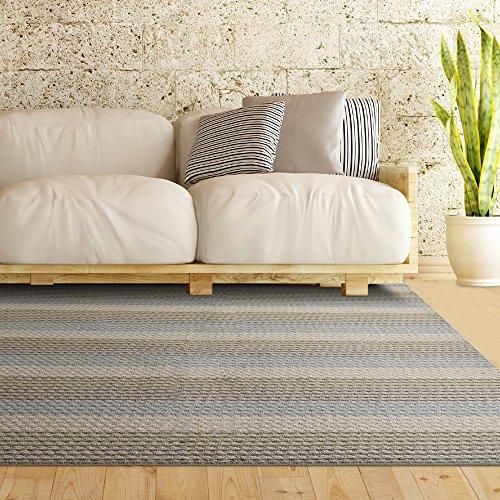 Multi Colored Pencil Striped Loop Pile Berber Carpet Non