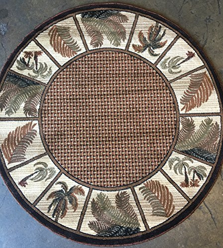 Modern Round Area Rug 500 000 Point Oasis Tropical Palm