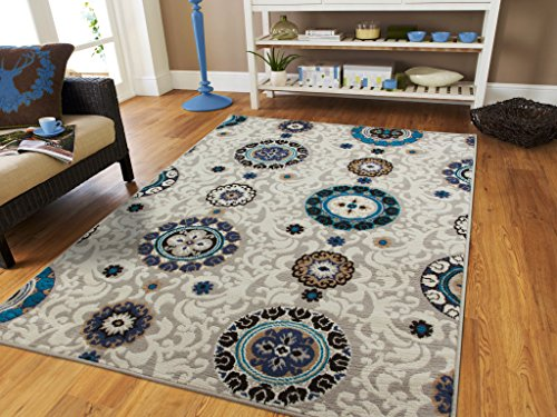 Luxury Contemporary Circles And Flowers Modern Area Rug 5
