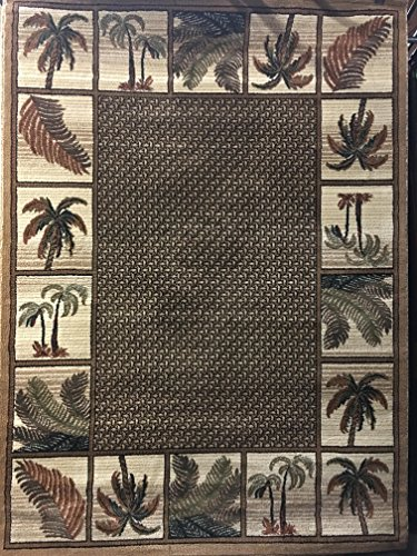 Palm Tree Tropical 500 000 Point Area Rug Beige Design 1