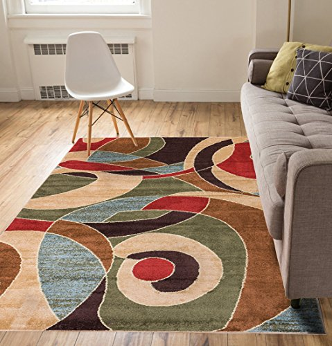 Calm Chaos Multi Red Modern Casual Geometric Area Rug 3 5 X 4 7 Easy To Clean Stain Fade Resistant Shed Free Contemporary Abstract Funky Fun Bo