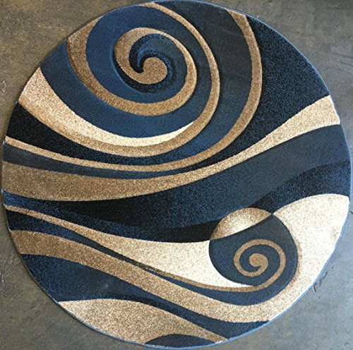 Modern Round Area Rug Blue Sculpture Design 258 5ft6in