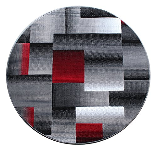 Masada Rugs Modern Contemporary Round Area Rug Red Grey