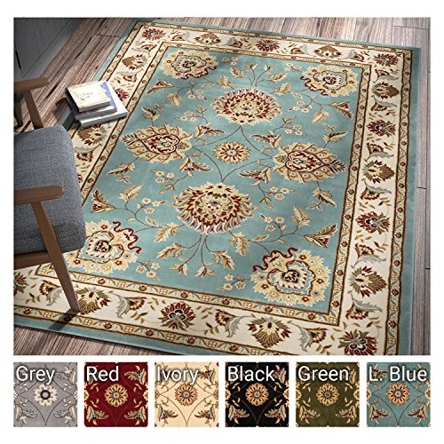 Round 4 Feet Red Hihome Round Area Rugs Traditional Area Rug 4-Feet Non-Slip Oriental Red Floral Classic Pattern Machine Washable Retro Antique for Living Room Bedroom Dining Room