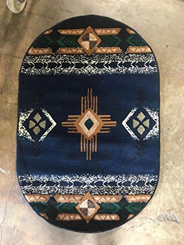 Southwest Native American Oval Door Mat Area Rug Navy Blue